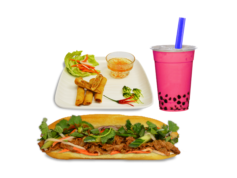 Combo B - Beef Sate SUB, Spring Roll, Boba
